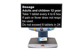 TOPAZ EZ HD Desktop Video Magnifier Magnifying A Medicine Bottle