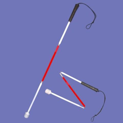 Олекотен детски бял бастун бял с червен сегмент в средата